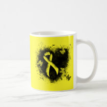 Yellow Awareness Ribbon Grunge Heart Coffee Mug