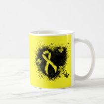 Yellow Awareness Ribbon Grunge Heart Coffee Mug
