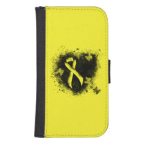 Yellow Awareness Ribbon Grunge Heart Samsung S4 Wallet Case