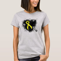 Yellow Awareness Ribbon Grunge Heart T-Shirt