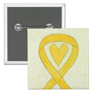 Yellow Awareness Ribbon Heart Custom Pin Buttons