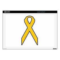 Yellow Awareness Ribbon Laptop Skins