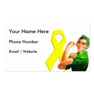 Yellow Awareness Ribbon Rosie the Riveter Business Card