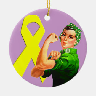 Yellow Awareness Ribbon Rosie the Riveter Ceramic Ornament