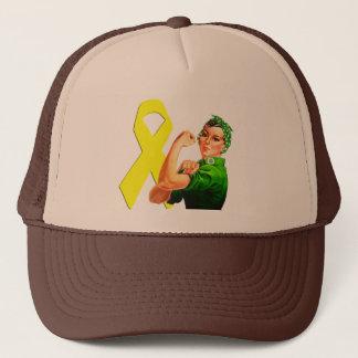 Yellow Awareness Ribbon Rosie the Riveter Trucker Hat