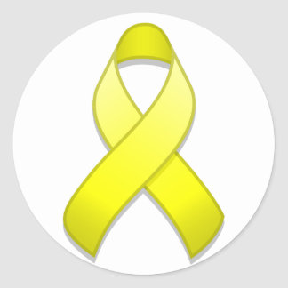 Yellow Awareness Ribbon Round Sticker