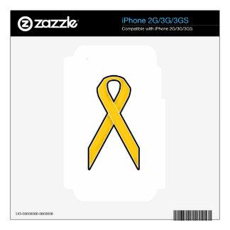 Yellow Awareness Ribbon iPhone 3 Skins
