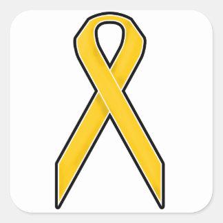 Yellow Awareness Ribbon Square Sticker