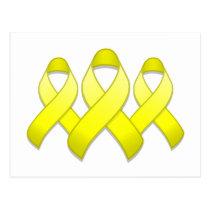 Yellow Awareness Ribbon Trio Postcard
