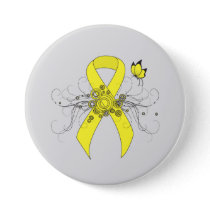 Yellow Awareness Ribbon with Butterfly Pinback Button