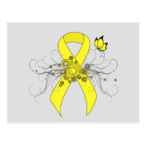 Yellow Awareness Ribbon with Butterfly Postcard