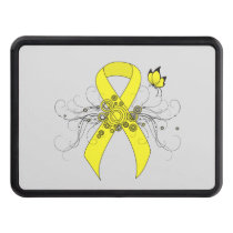 Yellow Awareness Ribbon with Butterfly Trailer Hitch Cover