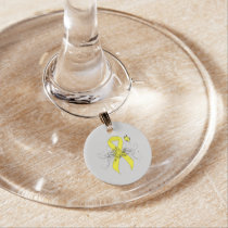 Yellow Awareness Ribbon with Butterfly Wine Glass Charm