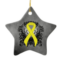 Yellow Awareness Ribbon with Wings Ceramic Ornament