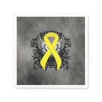 Yellow Awareness Ribbon with Wings Paper Napkins