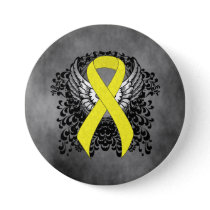 Yellow Awareness Ribbon with Wings Pinback Button