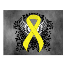 Yellow Awareness Ribbon with Wings Postcard