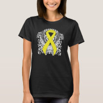 Yellow Awareness Ribbon with Wings T-Shirt