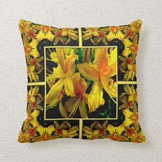 Yellow Azalea Kaleidoscope Design Pillow