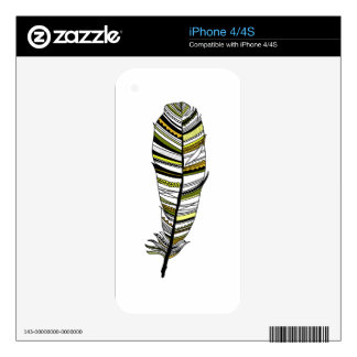 Yellow Aztec Feather Decals For The iPhone 4S