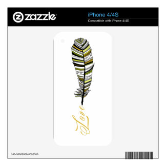 Yellow Aztec Feather writing love Decals For iPhone 4S