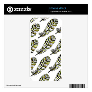 Yellow Aztec Feathers pattern iPhone 4 Skins