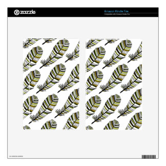 Yellow Aztec Feathers pattern Kindle Fire Decals