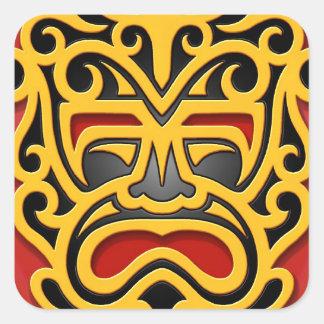 Yellow Aztec Mask Square Sticker