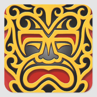 Yellow Aztec Mask Square Stickers