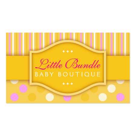 Yellow Pink and White Stripes and Polka Dots Cute Baby Boutique Business Card Template