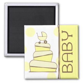 Yellow Baby Carriage Cake  Magnet