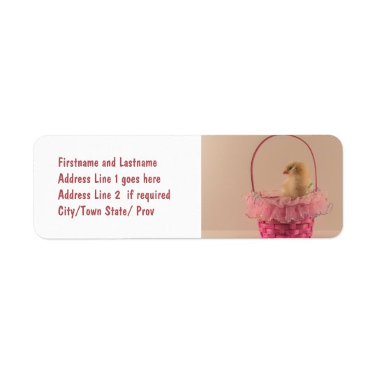 Yellow Baby Chick in Pretty Pink Basket Label
