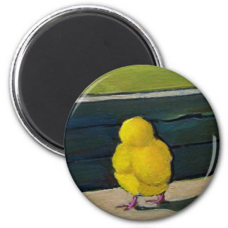 Yellow Baby Chick: Oil Painting 2 Inch Round Magnet
