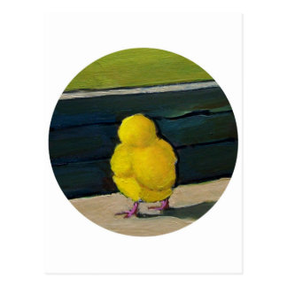 Yellow Baby Chick: Oil Painting Postcard