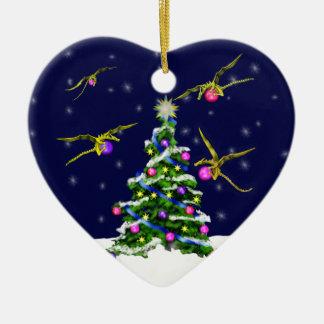 Yellow Baby Dragons Encircle a Christmas Tree Ceramic Ornament