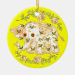 Yellow Baby Elephant Christmas Ornament