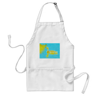 Yellow Baby goose with light blue water Adult Apron