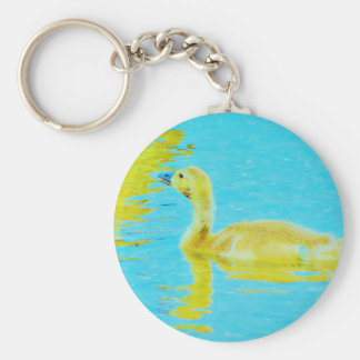 Yellow Baby goose with light blue water Key Chains