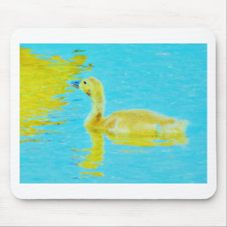 Yellow Baby goose with light blue water Mouse Pad