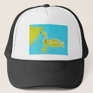 Yellow Baby goose with light blue water Trucker Hat