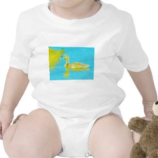 Yellow Baby goose with light blue water Romper