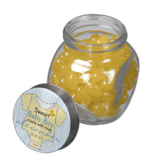 Yellow Baby Jumper On Blue Stripes-Baby Shower Jelly Belly Candy Jar