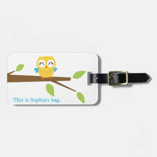 yellow baby owl luggage tag (personalize)