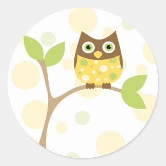 Yellow Baby Owl Classic Round Sticker