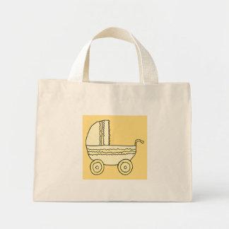 Yellow Baby Pram. Tote Bags