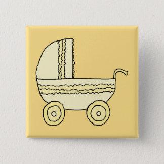 Yellow Baby Pram. Button
