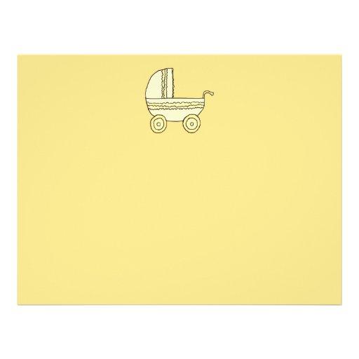 Yellow Baby Pram. Flyer Design