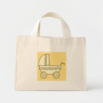 Yellow Baby Pram. Mini Tote Bag