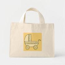 Yellow Baby Pram. Mini Tote Bag
