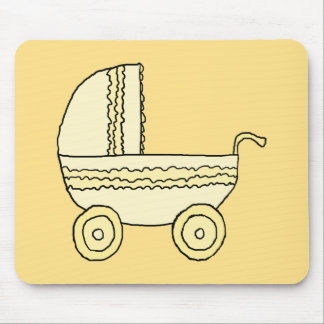Yellow Baby Pram. Mouse Pad